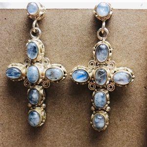 Vintage Moonstone Cross Sterling Silver Earrings